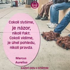 Cokoli slyšíme, je názor, nikoli fakt. Cokoli vidíme, je úhel pohledu, nikoli pravda.  Marcus  Aurelius | citáty o životě Story Quotes, Humor, Motto, True Stories, Favorite Quotes, Quotations, Psychology, Wisdom, Facts