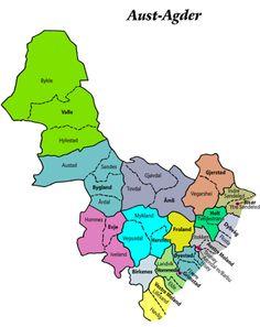 Map of Aust-Agder