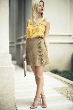 Look do dia - look dia amei a combinacao de cores kadın modası, blok elbise Skirt Fashion, Fashion Outfits, Womens Fashion, Winter Outfits For Work, Summer Outfits, Short Skirts, Mini Skirts, Skirt Outfits, Ideias Fashion