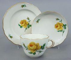 Meissen, 3 teiliges Kaffeegedeck, Dekor 'Gelbe Rose', Gold staffiert #2 • EUR 145,00 - PicClick DE