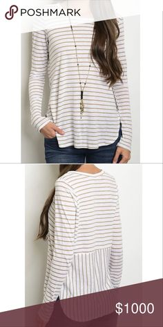🆑 Sz S 5⭐️ Stripe Longsleeve Round Neck Tunic Top Beautiful New Longsleeve Round Neck Stripe Tunic Top. Great for laying in the Fall and Winter! Has an extra special detail on the back. Made in USA. Material: 62% Rayon and 38% Spandex. No Trades. Price is firm unless bundled. 10% off 2 or more items or 15% 3 or more items. GlamVault Tops Tees - Long Sleeve
