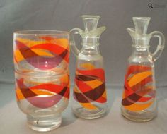 cruets and tumblers in orange
