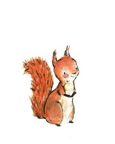 Nursery Art SQUIRREL Art Print by trafalgarssquare on Etsy