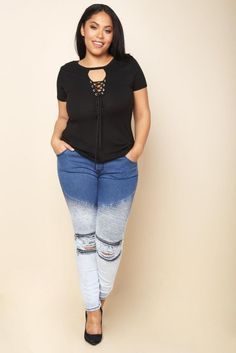 DETAILS A pair of plus size skinny jeans with a drawstring waistline and four pockets. Features self stripes, zippered trims, and busted knees on the front. Plus Size Skinny Jeans, Plus Size Outfits, Denim Jeans, Capri Pants, Zipper, Size Clothing, Clothes, Black, Big