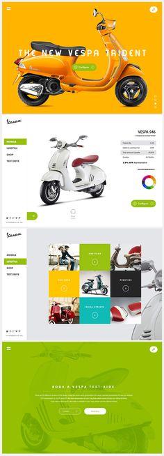 Responsive Ui design concept of the Vespa worldwide website by Murat Korkmaz on Bechance.