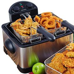 Secura Stainless-Steel Triple-Basket Electric Deep Fryer, with Timer Free Extra Oil Filter Fry Fish And Chips At The Same Time. Our cool-touch, stainless steel Deep Fryer come… Specialty Appliances, Small Kitchen Appliances, Kitchen Gadgets, Cool Kitchens, Kitchen Utensils, Kitchen Tools, Home Deep Fryer, Best Deep Fryer, Chinese Fried Chicken Wings