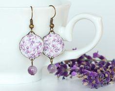 Dangle Earrings - lavande, lavande - fleurs violettes et feuilles avec des…