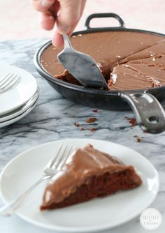 inspired by charm Chocolate Skillet Cake http://www.inspiredbycharm.com/2015/02/chocolate-skillet-cake.html via bHome https://bhome.us