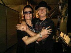 Glenn Hughes and Joe Elliott... backstage in Paraguay