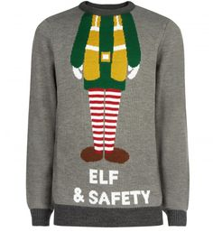 Elf & safety Christmas jumper, £19.99, New Look, http://www.newlook.com/shop/mens/knitwear/grey-elf-and-safety-christmas-jumper_317987604
