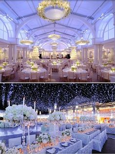 Winter Wonderland wedding reception absolutely amazing white perfect reception room! Pure light crystals flowers decor tables centerpieces gorgeous look that no guest will ever forget! Stunning!!!