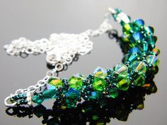 Absinthe Green Swarovski Crystal Necklace Emerald by WhimsyBeading, $35.00