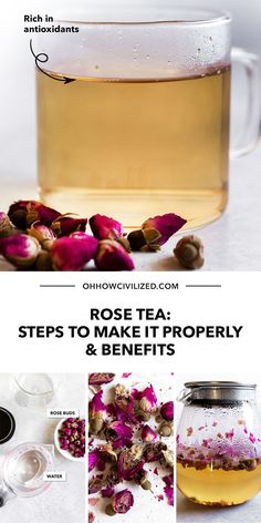 Rose Tea tastes as good as it looks! In this recipe, dried rose buds can be used to make this soothing herbal tea by brewing it in hot or cold water. Learn how to make it yourself here and the benefits of drinking it. Click to continue. Afternoon Tea Table Setting, Tea Table Settings, Tea Etiquette, How To Make Rose, Sandwich Fillings, Tea Sandwiches, Rose Tea, High Tea, Rose Buds