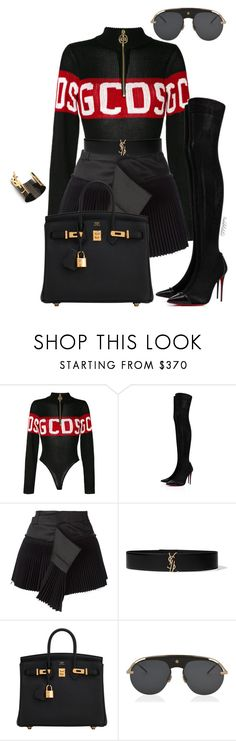 """""""Untitled #1771"""" by styledbyjovonxo ❤ liked on Polyvore featuring GCDS, Christian Louboutin, Haider Ackermann, Yves Saint Laurent, Hermès and Christian Dior"""