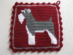 Schnauzer Pot Holders. Burgundy crochet and knit by hooknsaw