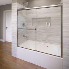 Basco 3400 56cl Clic 57 High X 56 Wide Byp Framed Tub Door With Clear Gl Silver Showers Shower Doors Sliding