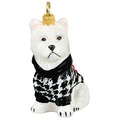 Joy To The World Collectibles 'Dog In Houndstooth Sweater' Ornament (3.240 RUB) ❤ liked on Polyvore featuring home, home decor, westie, handmade home decor, glass home decor and dog home decor