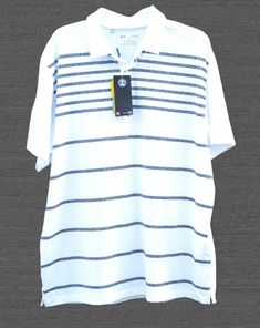 125a0726941 Under Armour Men s Polo Coolswitch Athletic Striped White Golf Shirt Size  XL NEW  Underarmour