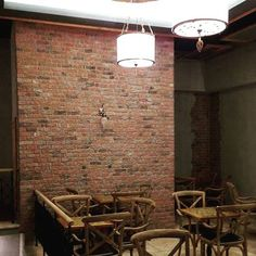 The eye catching and popular Cottage Red Brick slip cladding Red Feature Wall, Red Bricks, Cladding, Wall Lights, Cottage, Traditional, House Styles, Dairy, Color