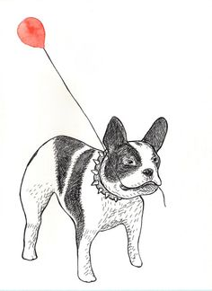 FREE SHIPPING  Original ink and watercolor painting French bulldog with red balloon by Mydrops, $20.00