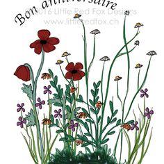 flowers birthday Fox Design, Red Fox, Little Red, Birthday, Flowers, Plants, Greeting Cards, Birthdays, Plant