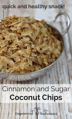 Quick and healthy snack alert… these are amazing! Paleo Cinnamon Sugar Coconut Chips, made with coconut oil