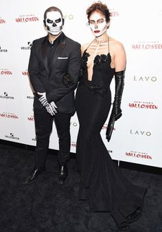 Jennifer Lopez and Casper Smart attended Heidi Klum's 16th Annual Halloween Party on Oct. 31 in NYC, wearing glamorous skull makeup; get the details
