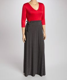 Loving this Red & Black Dot V-Neck Dress - Plus on #zulily! #zulilyfinds
