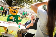 Wiley posing for a photo! #WilmU Carnival.