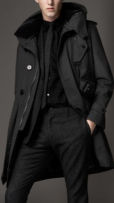Burberry London wool parka // all black everything // men's fashion // style