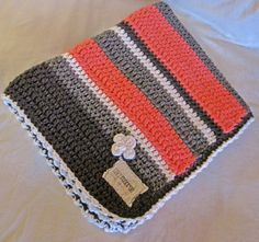 Modern Crochet Striped Blanket - Coral/Gray