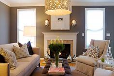 Love the darker walls w/ lighter furniture