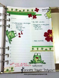 jpp - filofax  daily deko / filofaxing / Planner Gestaltung / kiss the frog / Frosch / Stampin' Up! Berlin / You´re Sublime / Herzkonfettistanze / Stanze Stiefmütterchen www.janinaspaperpotpourri.de