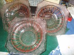 """ 3 ` ADAM` PINK DEPRESSION`  BERRY BOWLS`  JEANETTE GLASS "" NICE"