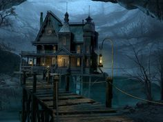 Gothic house with a bridge, love
