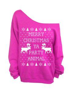 Merry Christmas Ya Party Animal - Ugly Christmas Sweater size S