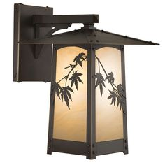 Cobblestone Series Straight Arm Mount with Japanese Maple Filigree, Architectural Bronze Finish and Champagne Glass.