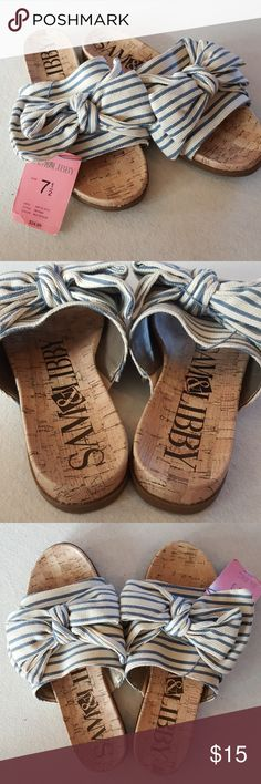 NWT Sam & Libby Bow Sandals Get ready for summer and/or Spring Break Vacation with this fun striped, over-size bow, sandals. New with Tags, never been worn, except to try on. Sam & Libby Shoes Sandals