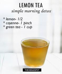 Simple detox tea with lemon: