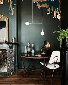 Dark Teal Green Wall Paint Minimal Furniture And Sculptural Light Fixture Minimal And Dramatic At The Same Time Decor Home Interior Design Interior Design