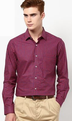 Peter England Maroon Formal Shirt #FormalForMen #Formal #PeterEngland
