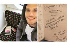 """Sam Claflin deixa de presente em um trem sua cópia de """"Como Eu Era Antes de Você"""""""