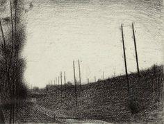 Seurat drawing: la voie ferree