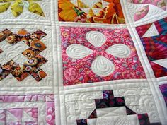 dear jane quilt in modern fabrics with cool quilting