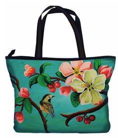 """Beautiful+large+tote+shopper+bag+from+the+Woody+Ellen+Birdgirl+collection.++Soft+padded+microfiber+to+front+and+back+with+a+floral,+bird+&+fruit+illustration+to+both+sides.++++Black+&+brown+satin+type+carry+handles.++Black+satin+type+base+and+trim+around+top+of+bag.++Full+zip+closure.++  Black+satin+interior+with+zipped+inner+side+pocket+and+two+open+pockets+to+other+side.  Approximate+Measurements:+Width+17.75""""+(45cm),+Height+13""""+(33cm),+Depth+4.5""""+(11.5cm)  Matching+purse+available…"""