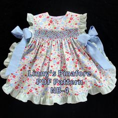 Linny's Pinafore PDF Pattern, NB-4, Mommy's Apron Strings, Instant Download, Baby, Newborn, Girl, Toddler Sewing Pattern, Smocked, Unsmocked