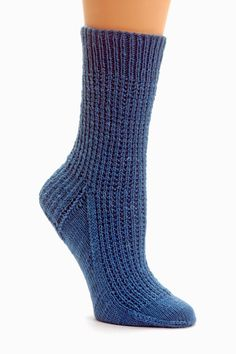 """Math4Knitters: Strie Socks - Strie means """"stripe,"""" """"groove,"""" or """"gore"""" in French, so it seems like the perfect name for these very simple, garter-stitch-ribbed socks with French heels and wedge toes. In Sock Architecture, they are worked both from the top down and the toe up in five sizes, plus a plug-in-your numbers size."""