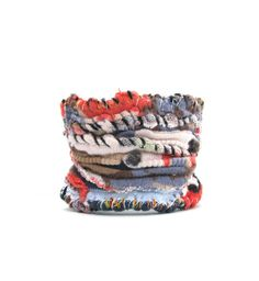 One of a Kind Artsy Cuff  Bracelet in Reds,Blues and Black. $35.00, via Etsy.