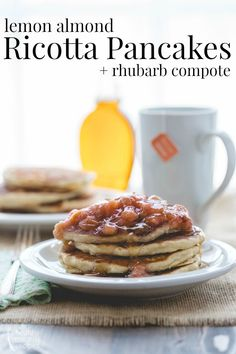 Lemon Almond Ricotta Pancakes with Rhubarb Maple Compote on Healthy Seasonal Recipes