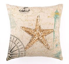 Down Filled Luxury Starfish Embroidered Pillow